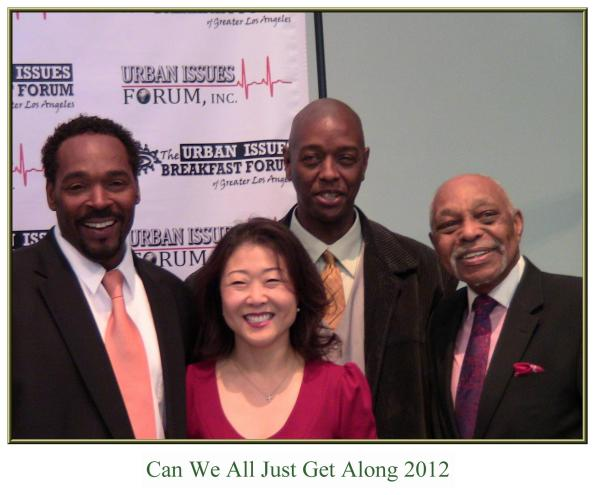 "May 25, 2012-- The ""Urban Issues Breakfast Forum"" at the California African-American Museum...Panelists from left to right: Rodney King, Hyepin Im, General Jeff, Rev. Dr. Cecil ""Chip "" Murray...topic: 20 years later, What has changed since the '92 South Central L.A. Riots?"