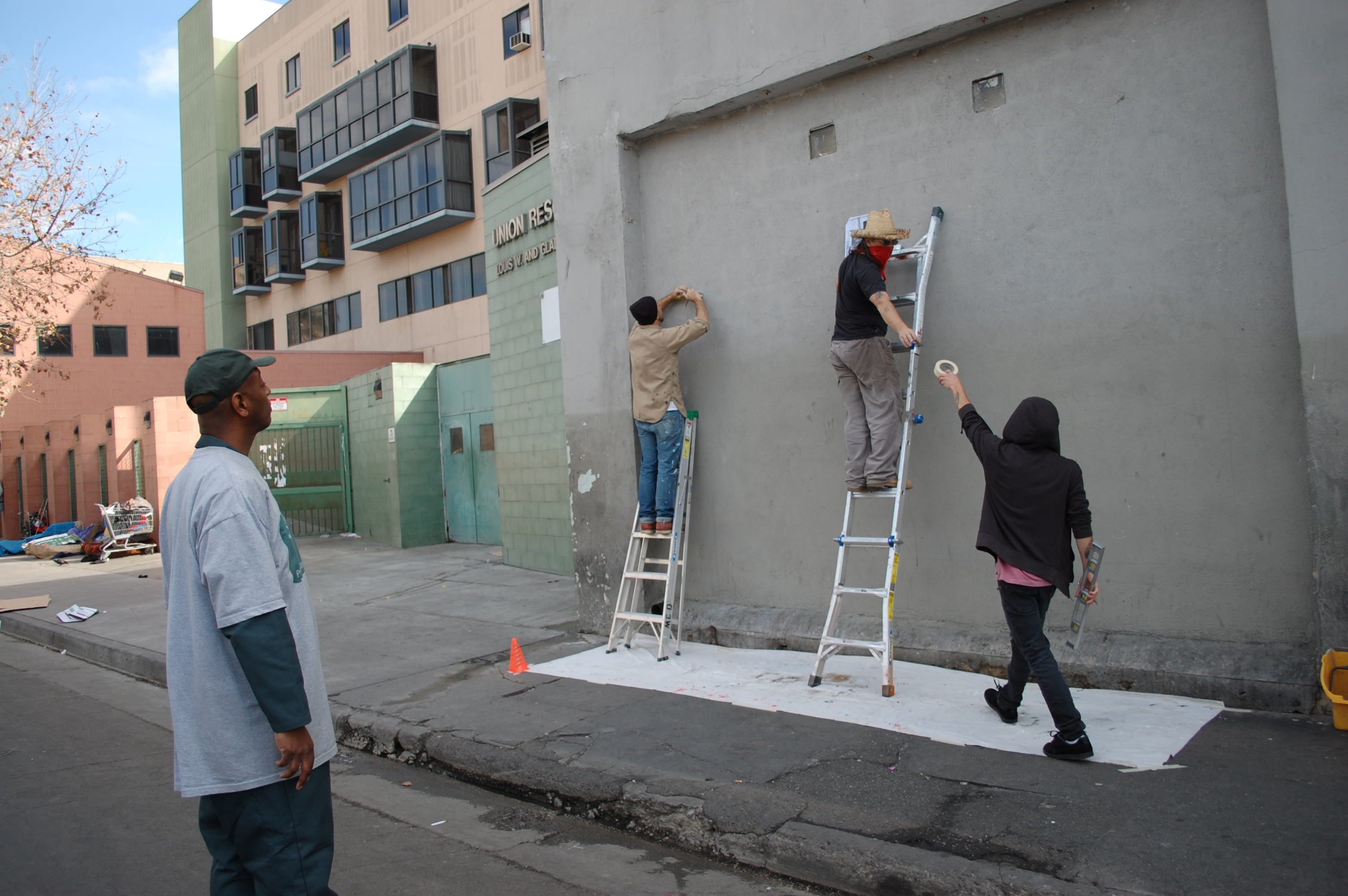Skid row city limit mural project day one mayor of for City mural projects